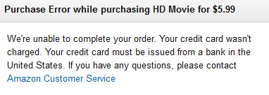 Unable to purchase Instant Videos on Amazon.com?