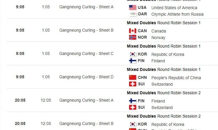 winter olympics schedule