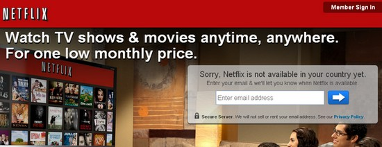 Netflix not available in your country