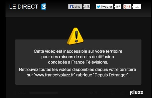 French TV3 unavailable geo block