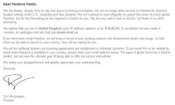 Pandora restrictions