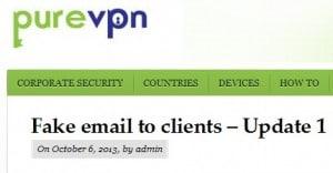 PureVPN fake email