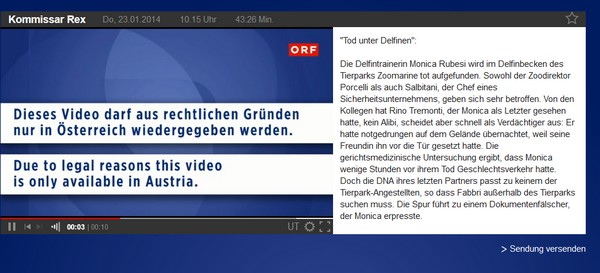 ORF is unavailable from abroad