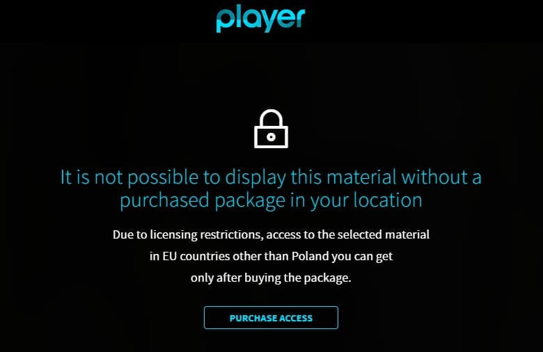 Error message if you try to watch TVN Player from abroad