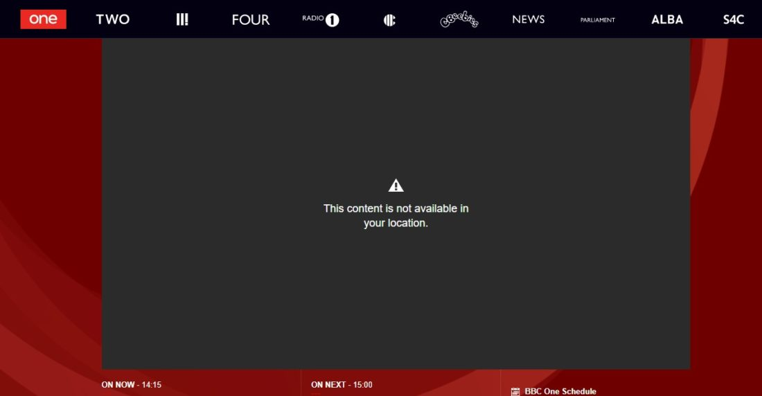 Error message as you try to stream BBC abroad as of February 2018