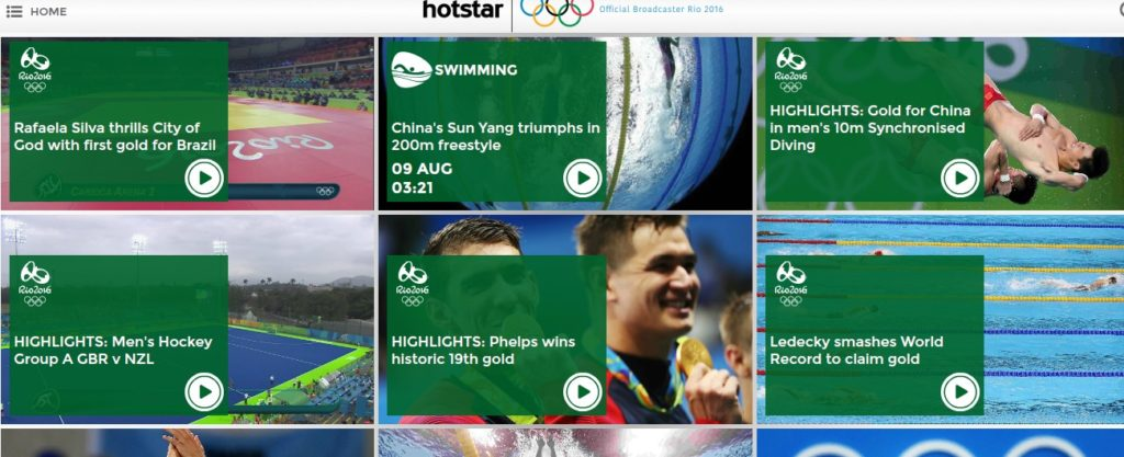 Watch the Olympics on Hotstar in India