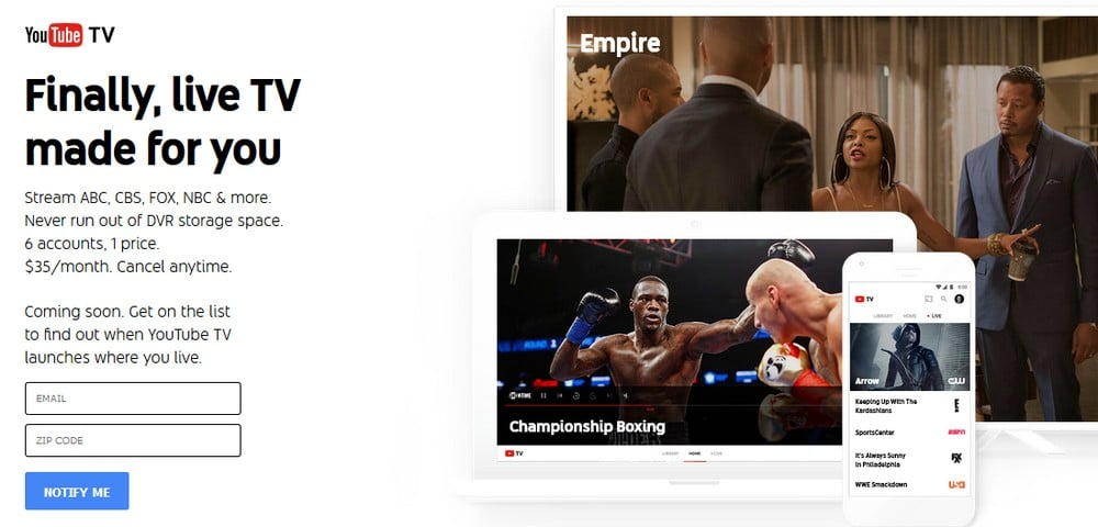 YouTube TV coming soon