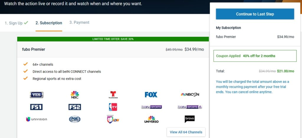 No more beIN Sports on Playstation VUE? Worry not! Get 40% discount on Fubo TV with beIN Sports included!