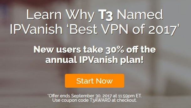 Get 30% discount on annual IPVanish package