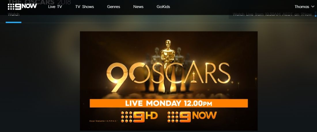 oscars on 9now