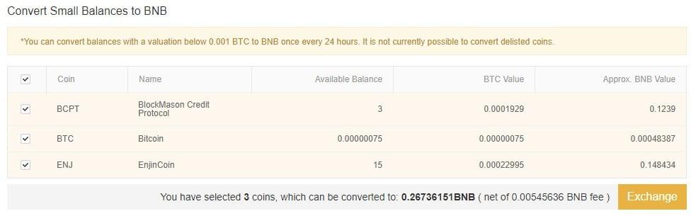 Here I can convert small balances to BNB on Binance