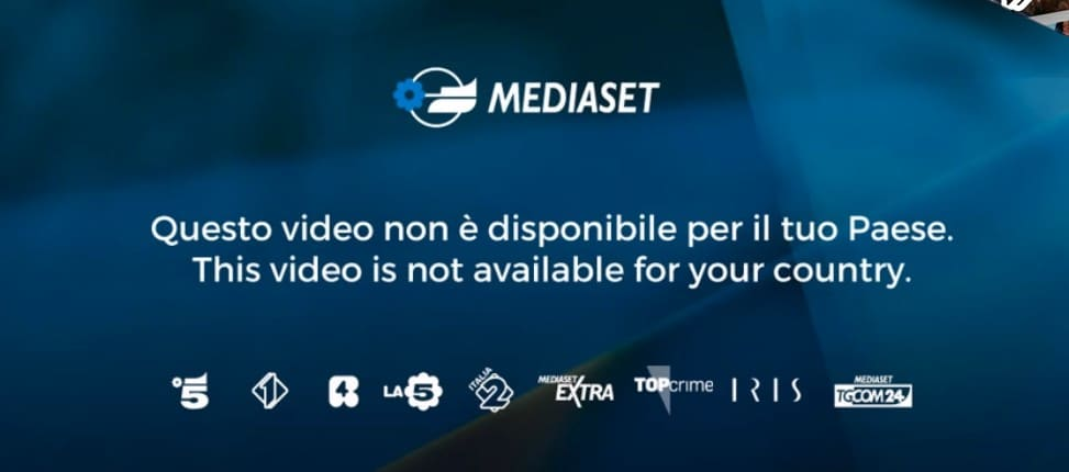 mediaset error message