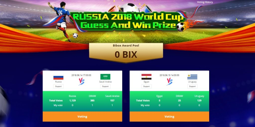 Tipp på VM kampene på kryptobørsen Bibox og vinn BIX tokens!