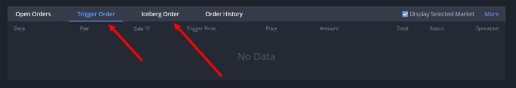 Iceberg order and Trigger order (stop-loss) on Bibox
