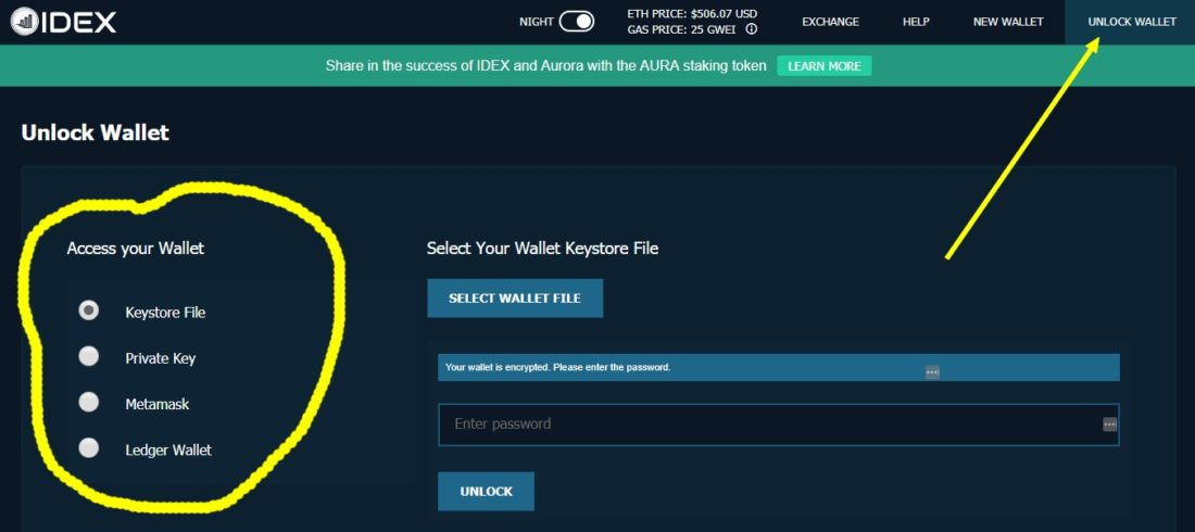 unlock idex wallet and access wallet