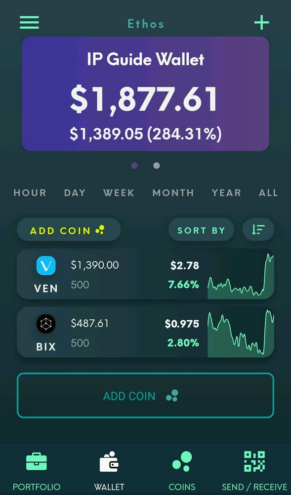An example of what the Universal Wallet WatchFolio might look like after adding some VEN tokens and BIX tokens.