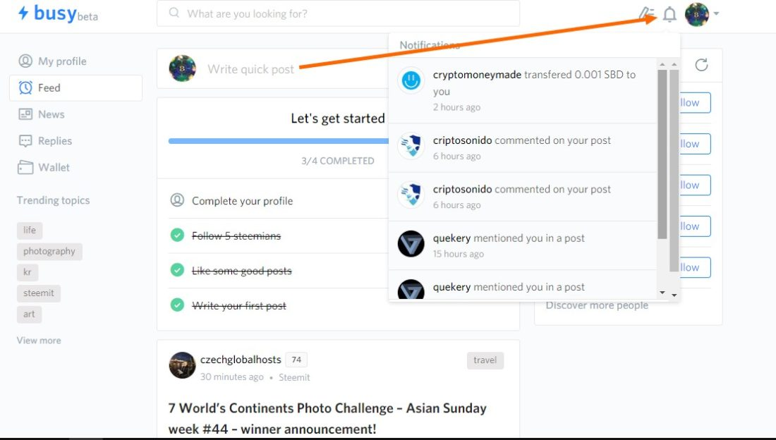 Get notifications whenever you are mentioned on Steemit on Busy.org