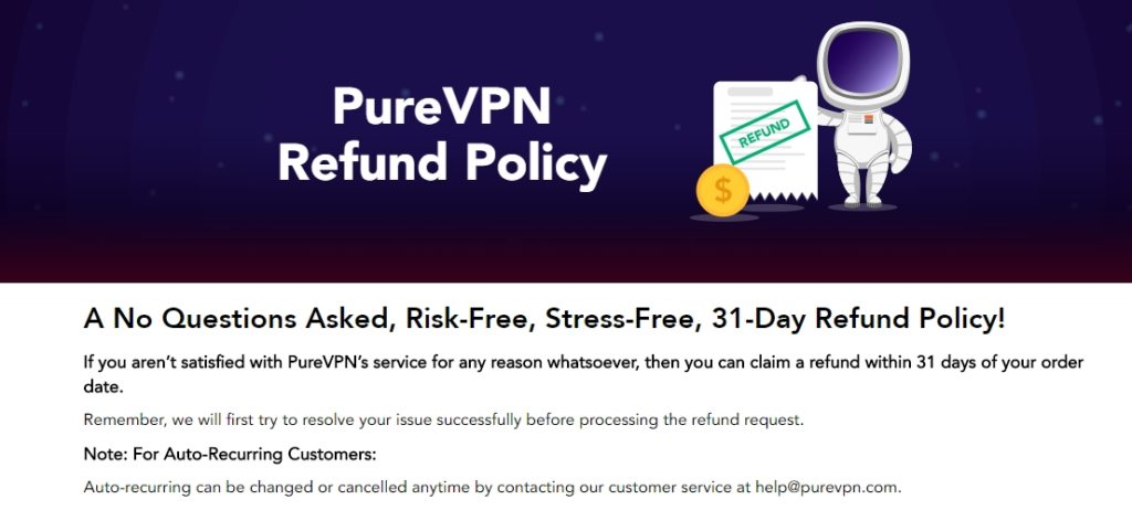 PureVPN with 31-day full refund policy!