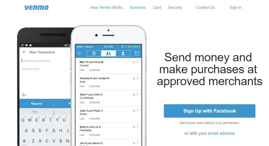 The Venmo website