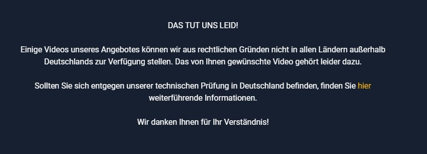 You might see this error message if you try to watch RTL outside Germany