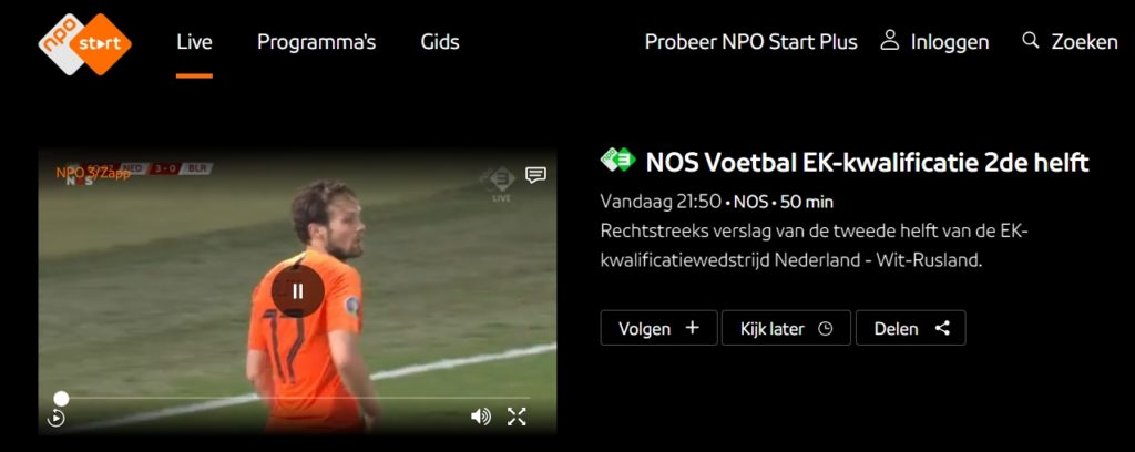 We are watching a Euro 2020 qualification match on NPO/NOS abroad with ExpressVPN.