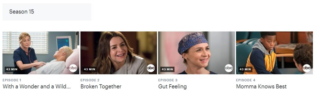 You can watch Grey's Anatomy on Hulu in the USA as well