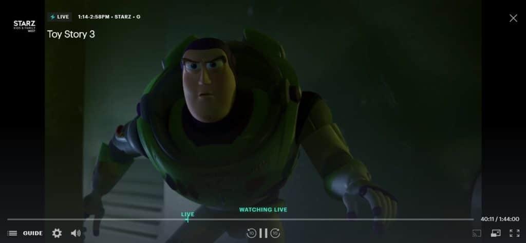 I am watching Toy Story 3 live on Hulu using ExpressVPN