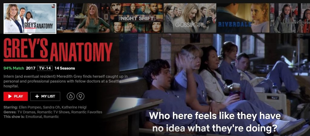 You can watch lots of Grey's Anatomy on Netflix