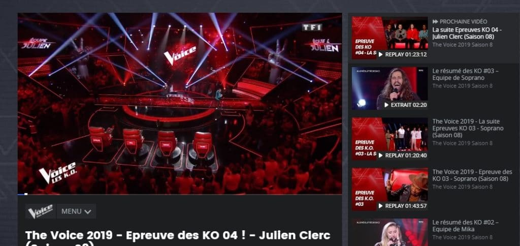 I am watching The Voice on TF1 using NordVPN.