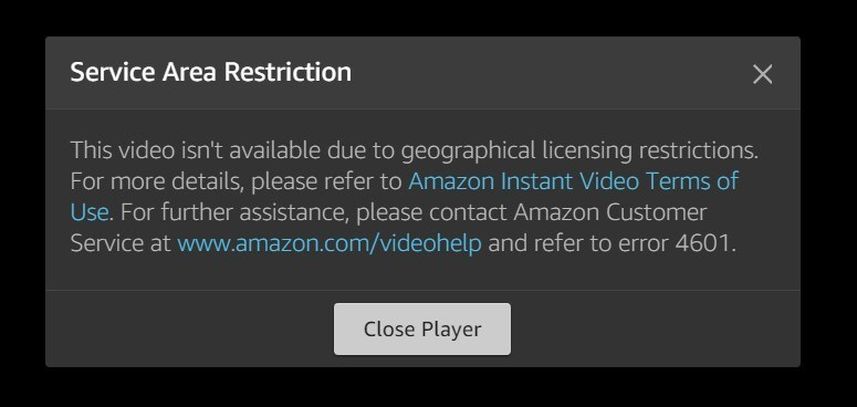 Don't see this error message on Amazon Prime anymore - use a VPN that actually works with Amazon.