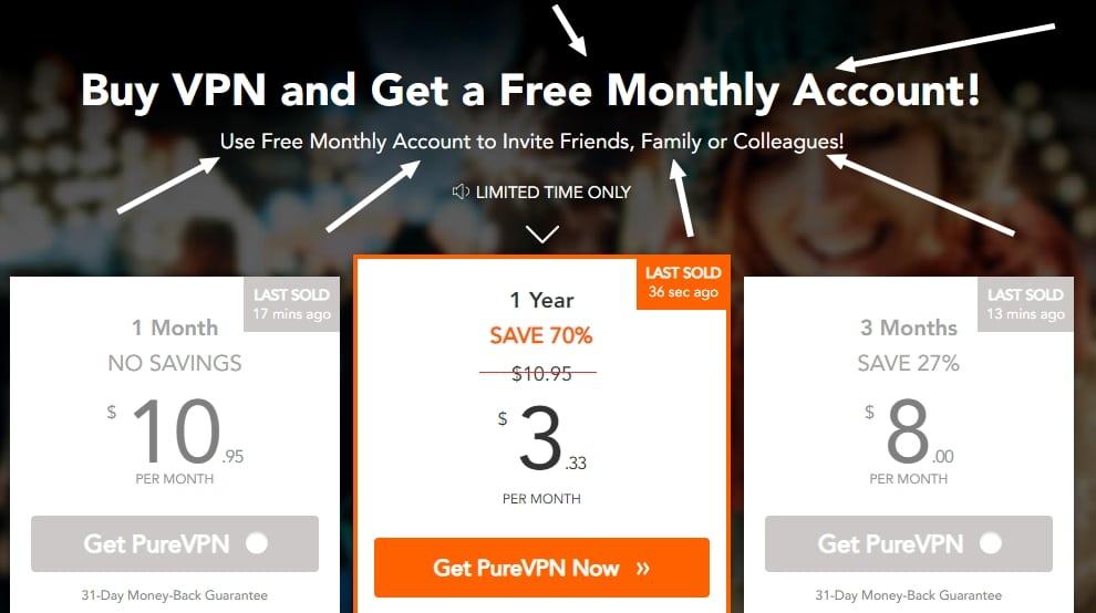 Get a free PureVPN account right now!