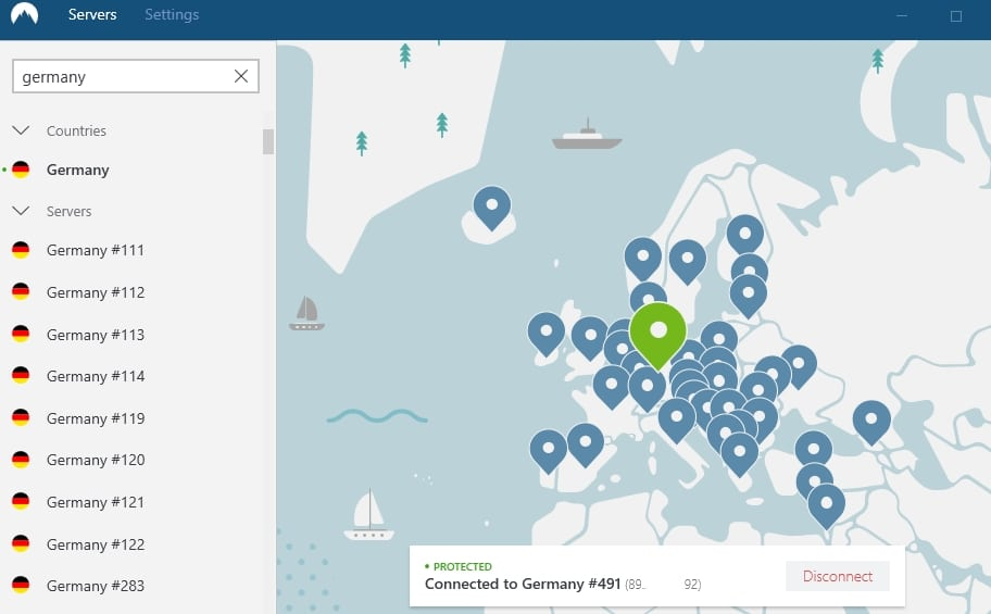 Connecting to a server in Germany with NordVPN to watch Ran abroad.