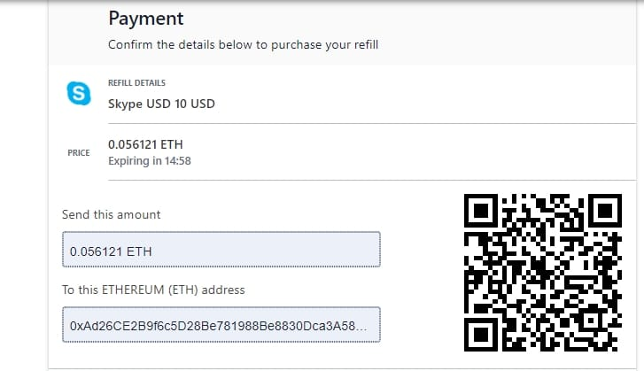 All the information you need to pay for your Skype Gift Card using Ethereum