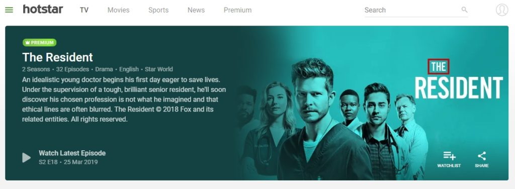 You can watch The Resident on Hotstar in India