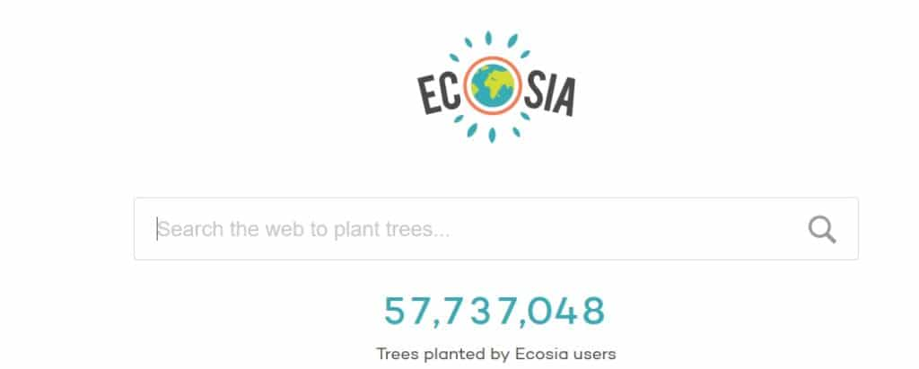 The Ecosia search engine start page.