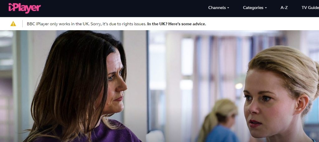 Error message when trying to watch Holby City on BBC iPlayer abroad