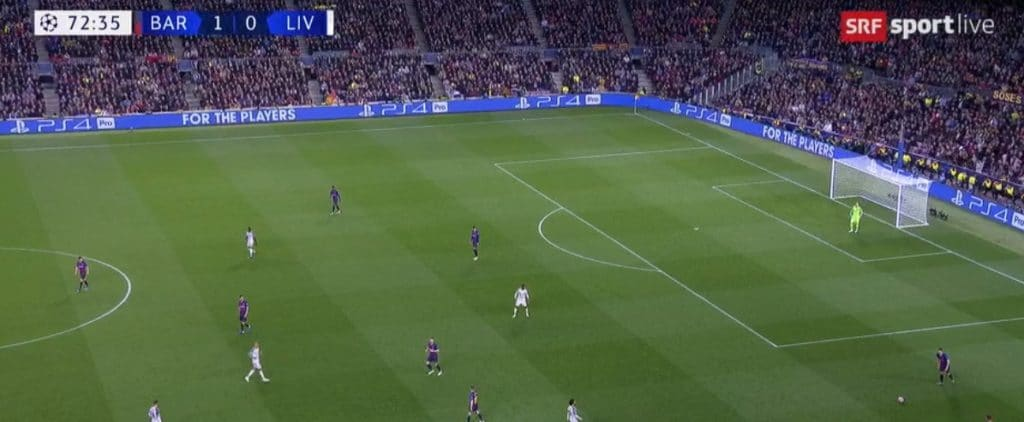 A screenshot from the first match between Barcelona and Liverpool on May 1st (streamed on SRF in Switzerland)