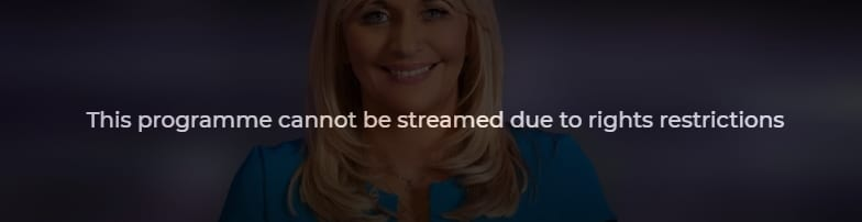 An error message you might see if you try to watch RTE Player abroad.