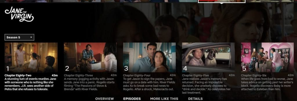 Can I watch Jane the Virgin season 5 on Netflix?