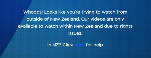 The basic error message as you try to watch TVNZ outside New Zealand