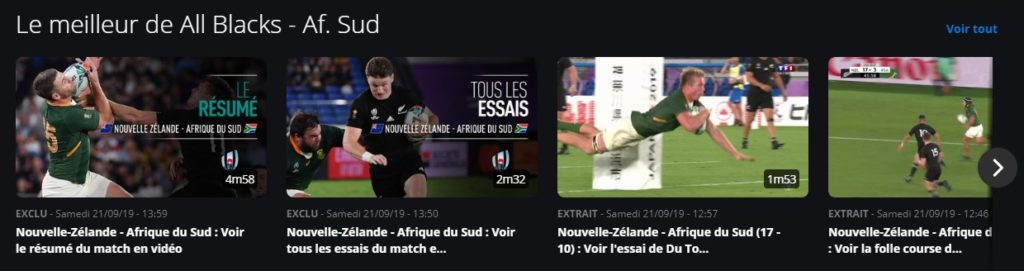 Match replays at TF1 in France from the Rugby World Cup