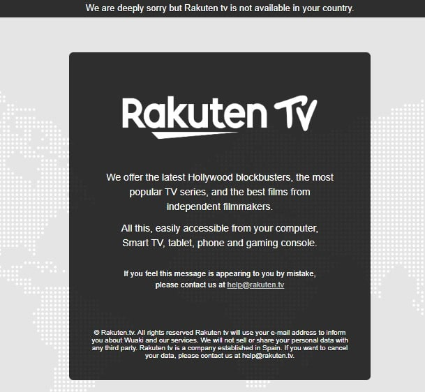 Error message as you try to watch Rakuten TV abroad