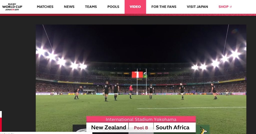 Match highlights from the Rugby World Cup (match between New Zealand and South Africa)