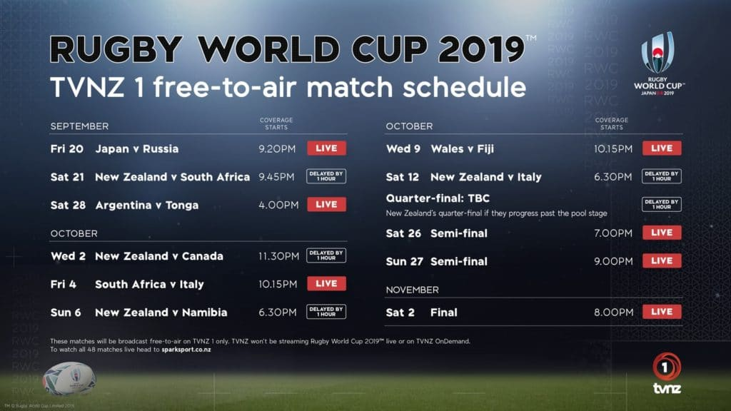 The match schedule for TVNZ in the Rugby World Cup