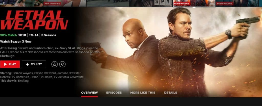 Which is the best VPN for Lethal Weapon on Netflix?