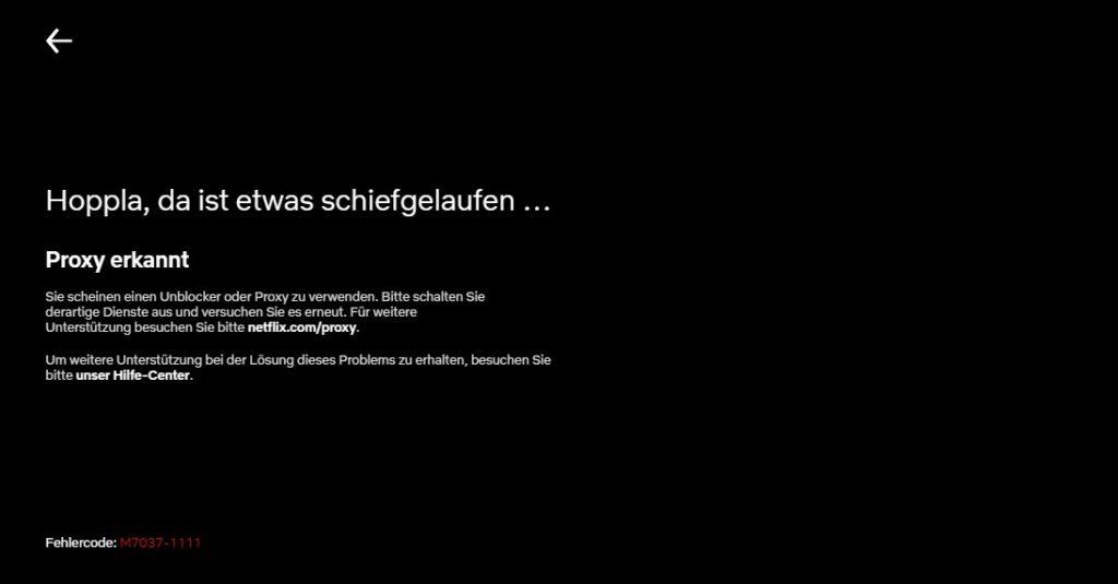Proxy erkannt - Netflix-Fehler