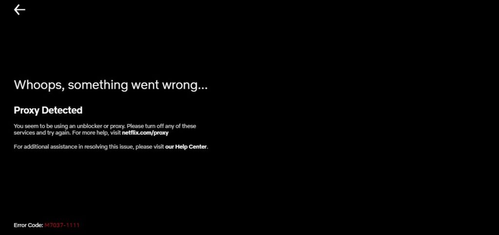 Proxy Detected - Netflix error message