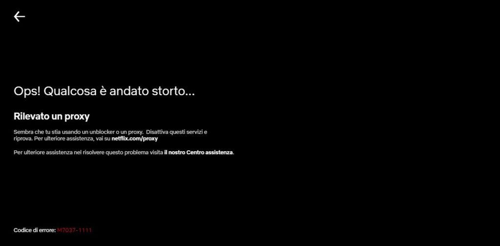 Rilevato un proxy - Errore Netflix