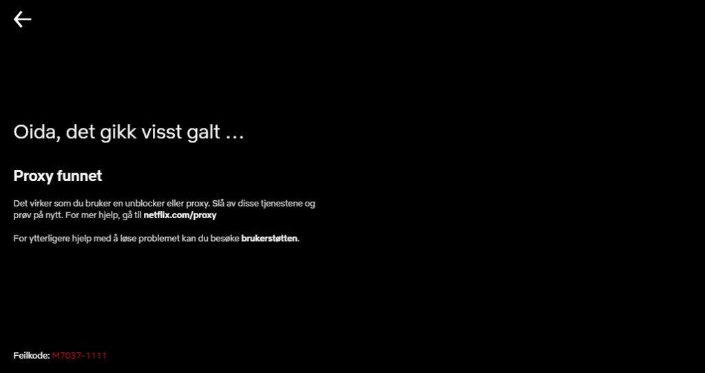 Proxy funnet - Netflix feilmelding