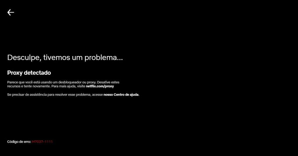 Proxy detectado - erro Netflix